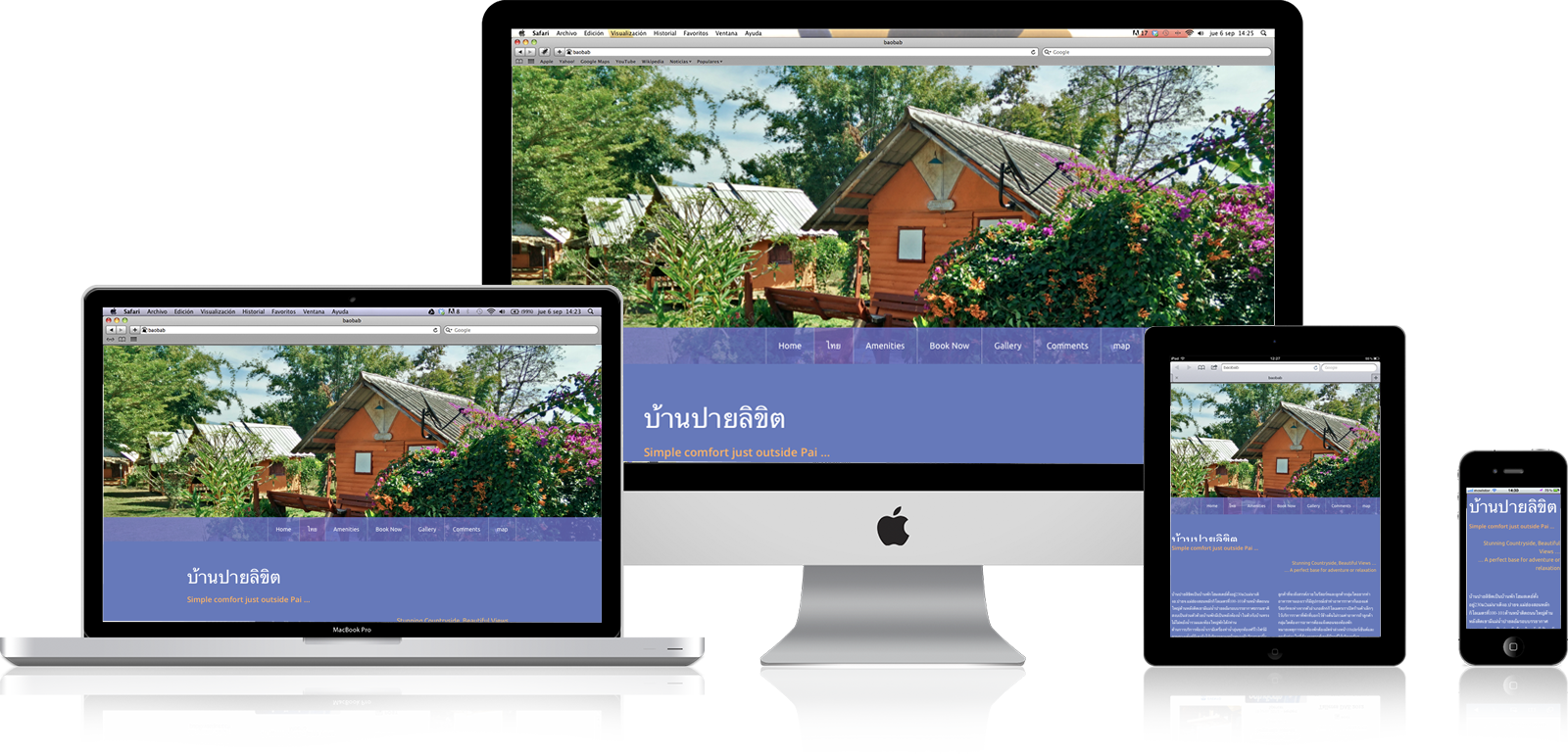 Multilingual Website design for Pai-riikit.com - a resort in Pai Thailand